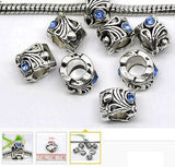 Dreadz Antique Silver with Light Blue Rhinestone Dreadlock Hair Beads (5mm Hole) x 3