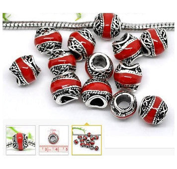 Dreadz Silver and Red Enamel Dreadlock Hair Beads (5mm Hole) x 3