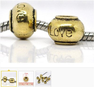 Dreadz Antique Gold Love Roundel Hair Beads (5mm Hole) x 3 Bead Pack