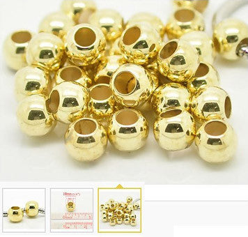 Dreadz Gold Lightweight Round Dreadlock Hair Beads (5mm Hole) x 3