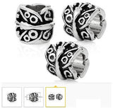 Dreadz Antique Silver Carved Pattern Barrel Dreadlock Hair Beads (5mm Hole) x 3