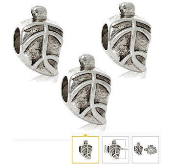 Dreadz Antique Silver Leaf Dreadlock Hair Beads (5mm Hole) x 3