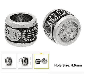 Dreadz Silver Antique Carved Dotted Pattern Dreadlock Hair Beads (5.9mm Hole) x 3
