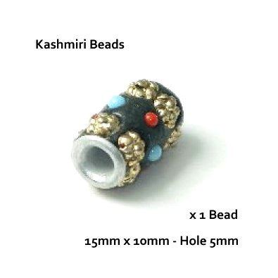 Dreadz Kashmiri Tube Hair Beads (5mm Hole) Short x 1 Bead