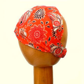 Batik Fair Trade Stretchy Cotton Headwrap/Headband (Colour #20) Orange/Paisley