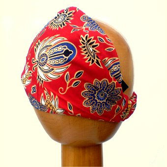 Batik Fair Trade Stretchy Cotton Headwrap/Headband (Colour #24) Red/Blue Mix