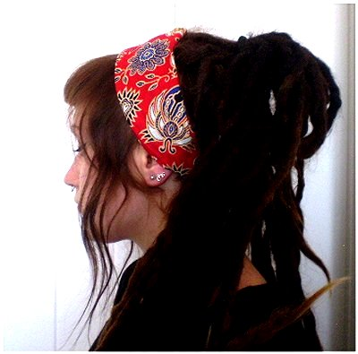 Batik Fair Trade Stretchy Cotton Headwrap/Headband Red/Blue Mix