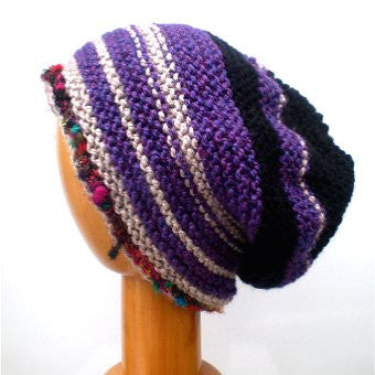 Hand Knitted Slouchy Beanie Hat (Purple and Black) #102