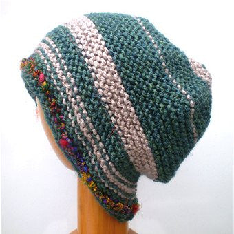 Hand Knitted Slouchy Beanie Hat (Green and Beige Mix) #106