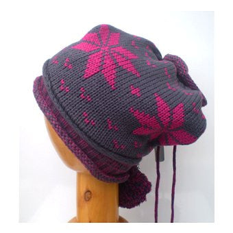 Dreadz Knitted Beanie Hat/Headwrap with Pom Poms (Grey with Fuchsia)