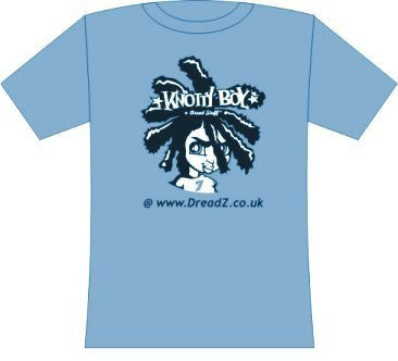 100% Cotton Large Blue T-Shirt with Knotty Boy Logo