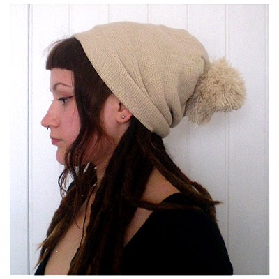 Dreadz Beanie Slouch Bobble Hat (Cream)