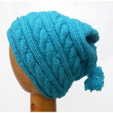 Dreadz Fair Trade Fleece Lined Cable Beanie Hat with Bobbles (Blue)