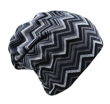 Dreadz 3-in-1 Multi-Function Tubular Beanie/Headwrap/Neckwarmer (Black/Grey Zig Zags)