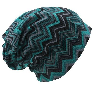 Dreadz 3-in-1 Multi-Function Tubular Beanie/Headwrap/Neckwarmer (Blue & Black Zig Zags)