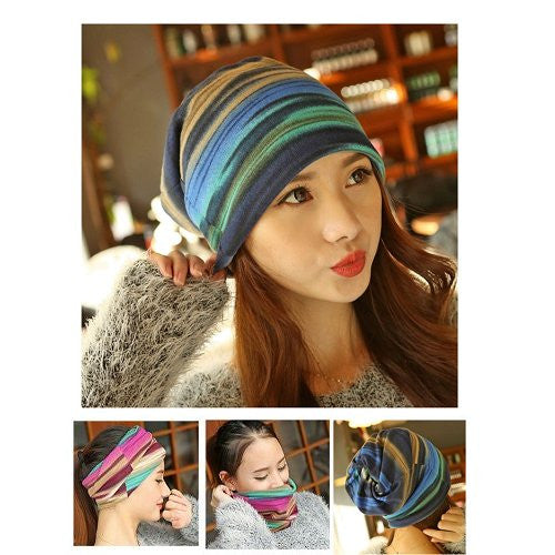Dreadz 3-in-1 Multi-Function Tubular Beanie/Headwrap/Neckwarmer (Blue Stripes)