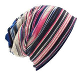 Dreadz 3-in-1 Multi-Function Tubular Beanie/Headwrap/Neckwarmer (Blue/Pink Stripes)