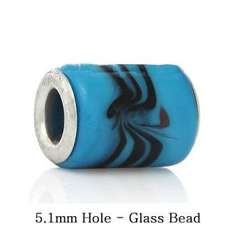 Dreadz Blue Glass Dreadlock Hair Beads (5.1mm Hole) x 1 Bead