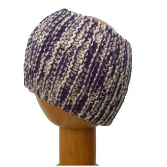 Dreadz Chunky Knitted Head Band / Tube (Purple Cream Multi Fleck)