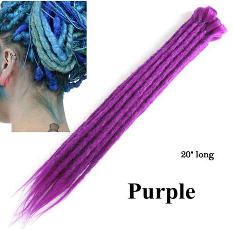 Purple-coloured Synthetic Single Ended Dreadlock Extensions 5 pack displayed against white background with thumbnail picture in top corner of blue extensions shown installed in human model's hair but coloured blue