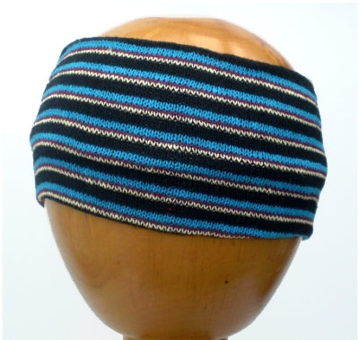 Dreadz Fair Trade Multi Coloured Striped Headband (Blue/Black/White) displayed on wooden mannequin head against plain light background