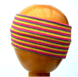 Dreadz Fair Trade Multi Coloured Striped Headband (Yellow/Purple/Pink) displayed on wooden mannequin head against plain light background