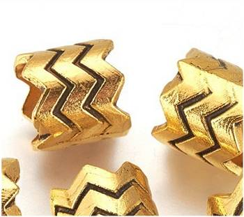 Dreadz Gold Zig Zag Dreadlock Hair Beads (9mm Hole) PH-FF x 1 Bead - several beads displayed against a white background
