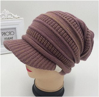 Dreadz Peaked Brim Slouch Beanie Hat (Heather) shown displayed on mannequin's head