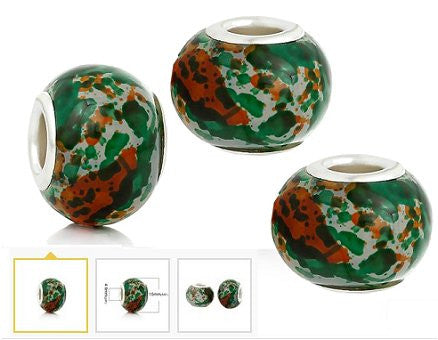Dreadz Round Glass Camouflage Hair Beads (5mm Hole) x 3 Bead Pack