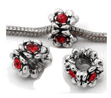 Dreadz Silver & Red Jewel Dreadlock Hair Beads (5mm Hole) x 3 Bead Pack