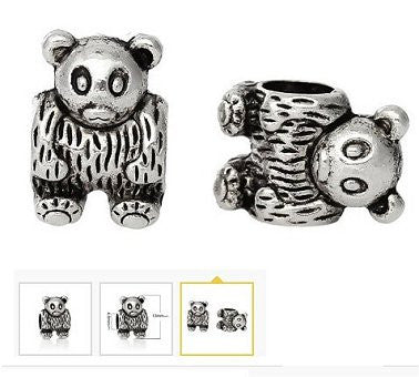 Dreadz Silver Bear Dreadlock Hair Beads (5mm Hole) x 1 Bead