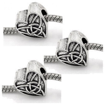 Dreadz Silver Celtic Heart Dreadlock Hair Beads (5mm Hole) x 3 Bead Pack