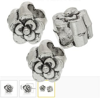 Dreadz Silver Flower Dreadlock Hair Beads (5mm Hole) x 2 Bead Pack