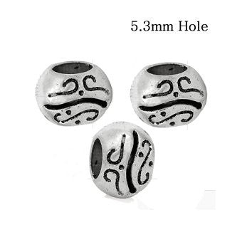 Dreadz Silver Patterned Dreadlock Hair Beads (5.3mm Hole) x 3 Bead Pack