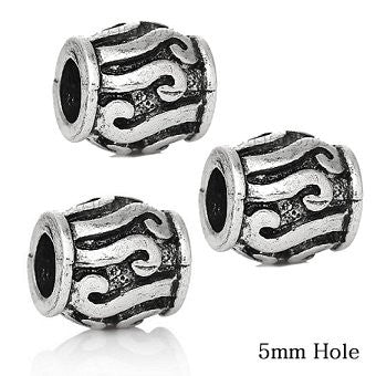 Dreadz Silver Scroll Barrel Dreadlock Hair Beads (5mm Hole) x 3 Bead Pack