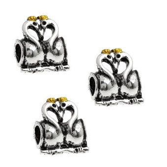 Dreadz Silver Swans Dreadlock Hair Beads (5mm Hole) x 1 Bead