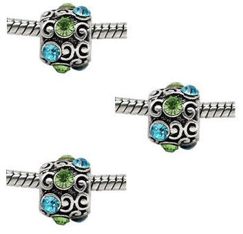 Dreadz Silver with Green and Blue Jewel Dreadlock Hair Beads (5mm Hole) x 3 Bead Pack