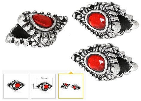 Dreadz Silver with Red Jewel Oval Dreadlock Hair Beads (5mm Hole) x 3 Bead Pack