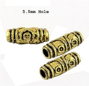 Dreadz Tribal Gold Acrylic Dreadlock Hair Beads (5.5mm Hole) x 3 Bead Pack