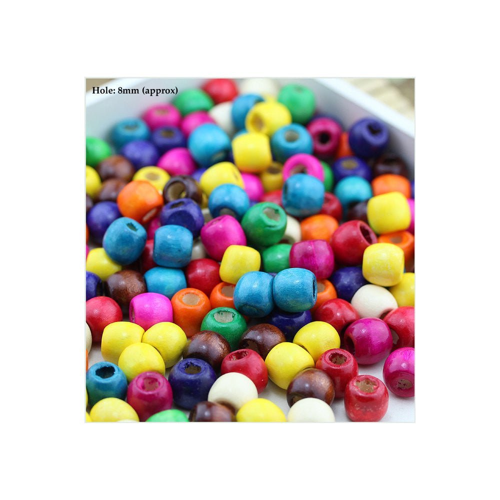 Dreadz Large Wooden Barrel Multi Coloured Hair Beads (8mm Hole) x 9 Bead Pack