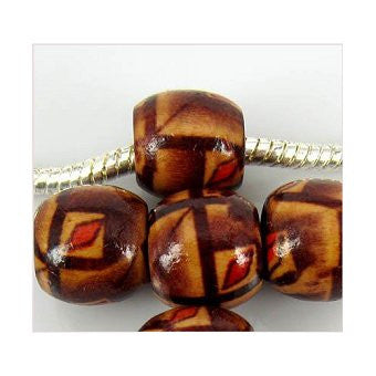 Dreadz Wooden Patterned Dark Brown Leaf Dreadlock Hair Beads (7.4mm Hole) x 3 Bead Pack