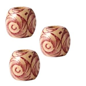 Three wooden patterned 7.4 millimetre hole Red Swirl dreadlock hair beads displayed against white background