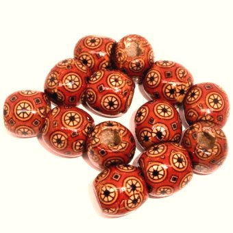 Dreadz Wooden Patterned Red Wheel Dreadlock Hair Beads (7.4mm Hole) x 3 Bead Pack