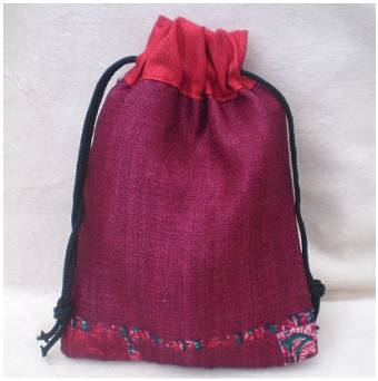 Fair Trade Sari Silk Drawstring Dreadlock Bead Pouch #03 Burgundy/Red/Ethnic Design