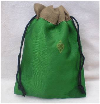 Fair Trade Sari Silk Drawstring Dreadlocks Bead Pouch #22 Green/Brown Ethnic