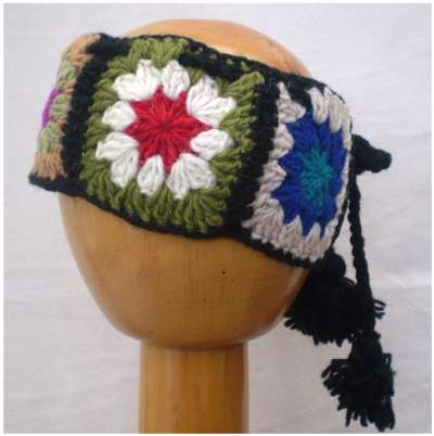 Dreadz Fair Trade Woollen Tied Flower Crochet Headband (Black Multi Light)