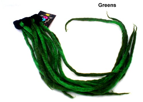 Dreadz Felt Dreadlocks Scrunchie with LONG Felted Dreadfalls (Greens)