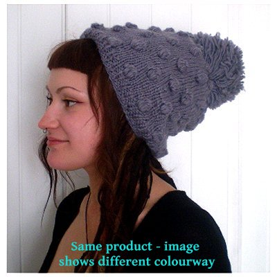 Dreadz Fair Trade Fleece Lined Slouch Beanie Hat with Bobble