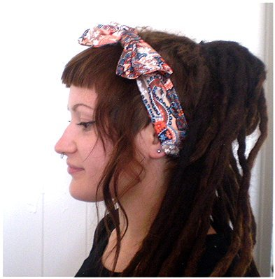 Stretchy Cotton Wide Headband with Bow Floral Paisley (Orange/Brown)