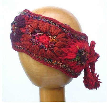 Dreadz Fleece Lined Woollen Tied Headband (Red)